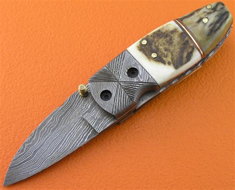 Handmade Folding Knife - mini damascus folding liner lock knife custom handmade