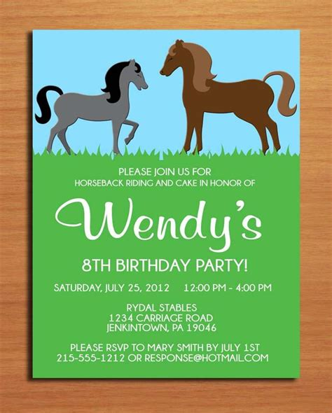 printable birthday cards with horses horse pony birthday party invitation cards printable diy