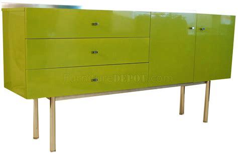 Green High Gloss Lacquer Finish Modern Buffet w/Metal Legs