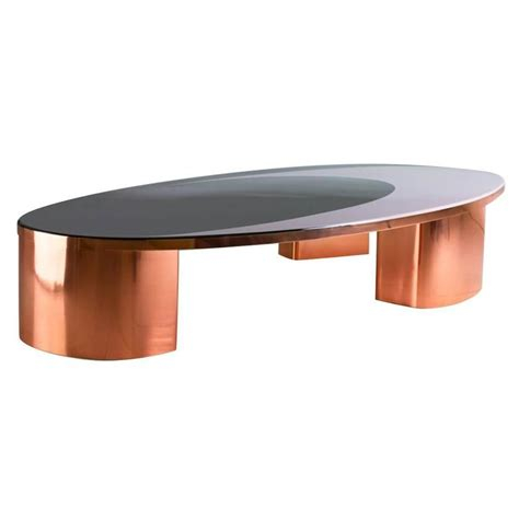 21st Century European Copper And Resin Inlay Oval Shaped Oval Shaped Coffee Table