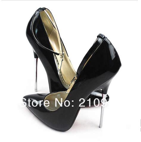 16 cm high heels black high heeled shoes metal thin heel