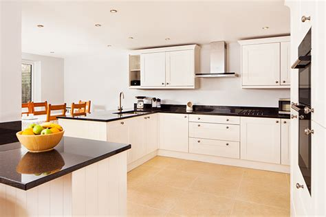white kitchen black worktop solid wood kitchen cabinets