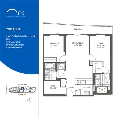 den floor plan the aqua 2 bedroom den floor plan daniels arc condos