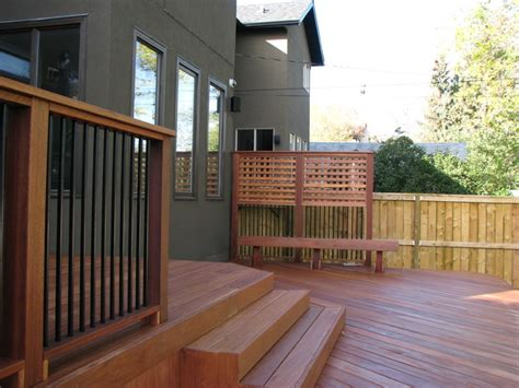 decking stairs railing privacy screen and bench