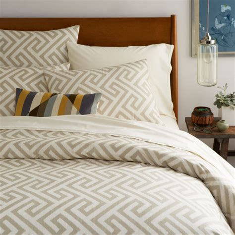Key Comforter by Organic Ikat Key Duvet Cover Pillowcases Flax Modern