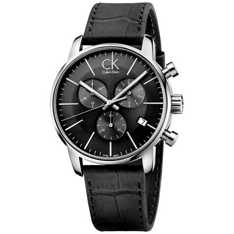 calvin klein s swiss chronograph city black leather