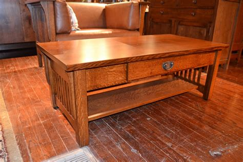 mission solid quarter sawn oak coffee table by