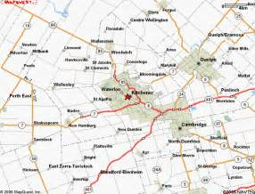 map of kitchener ontario canada kitchener map and kitchener satellite image