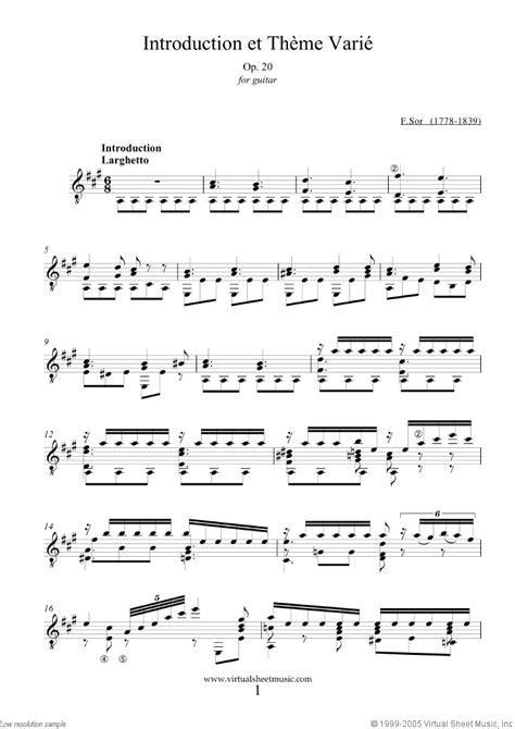 theme music et sor introduction et theme varie op 20 sheet music for