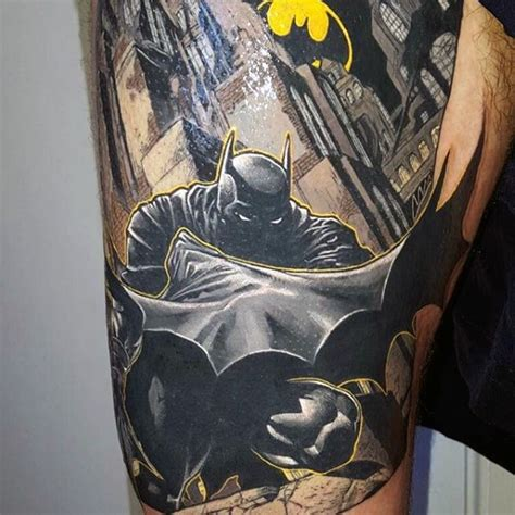 batman city tattoo comic books style colored thigh tattoo of creepy looking