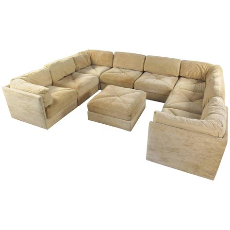 mid century modern sectional sofa large selig sectional sofa with ottoman mid century