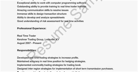 Real Time Trader Sle Resume by Resume Sles Real Time Trader Resume Sle