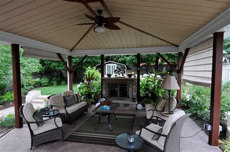 covered patio with fireplace outdoor fireplace puslinch on photo gallery