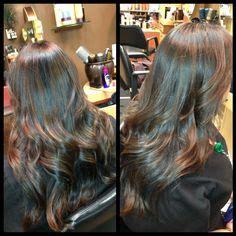 crown highlights dark hair hair ideas on pinterest side swept bangs ombre hair and
