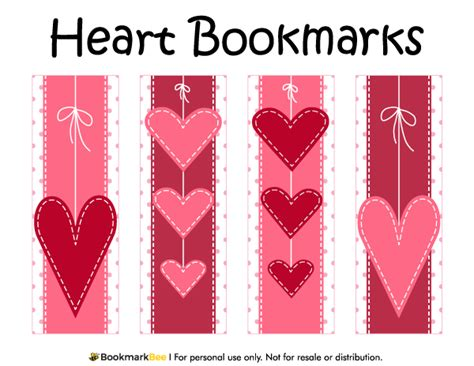 printable bookmarks pdf free printable heart bookmarks download the pdf template