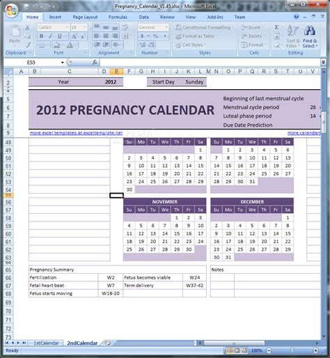 pregnancy calander calendar template 2016