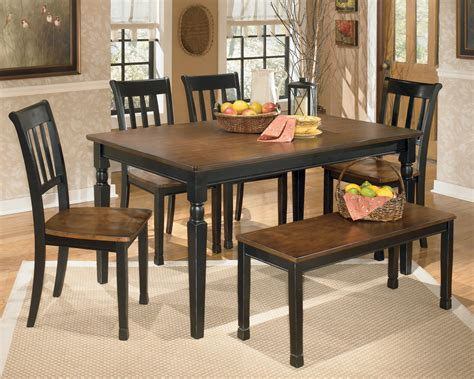 ashley dining table with bench ashley signature design owingsville 6 piece rectangular
