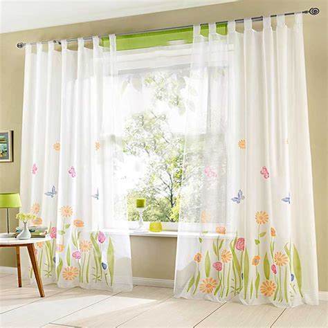 1pc quality butterfly flower sheer curtains for living