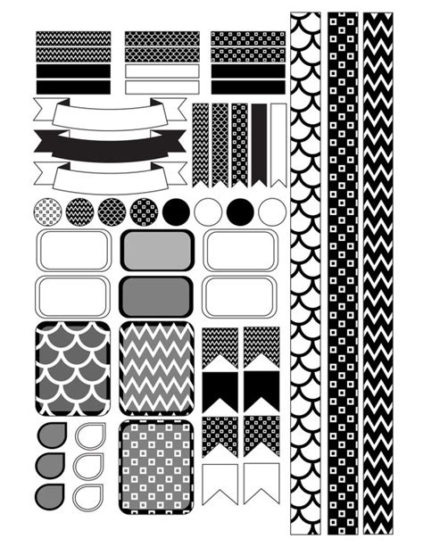 printable white stickers black and white planner stickers printable by