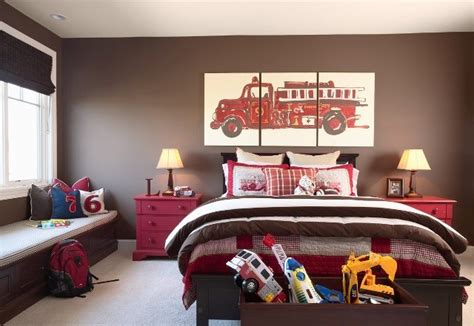firetruck bedroom brown walls traditional boy s room benjamin