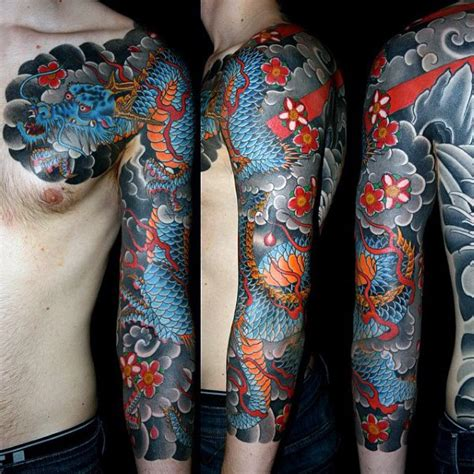 tattoo ideas dragon sleeve 100 dragon sleeve tattoo designs for men fire breathing