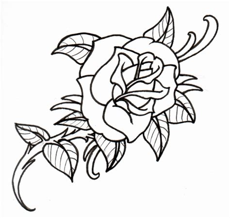 tattoo outline printer wonderful outline rose tattoo design coloring home
