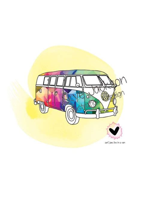 vw kombi van hippie boho rainbow illustration by SkyeJack on Etsy, $20.00   Made by Me, for You