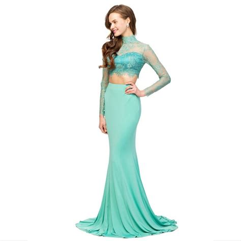 2016 two mermaid prom dresses lace sheer sleeve high neck graceful new open back