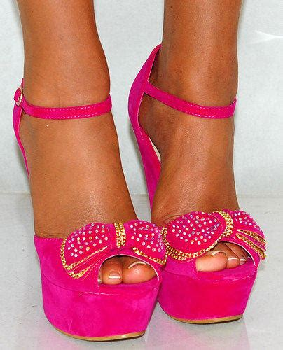 pink bow high heels suede bow fuchsia bright pink from saffron109