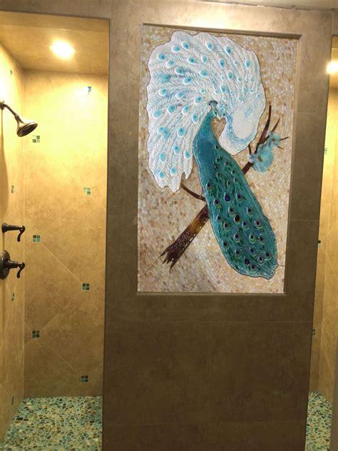 mosaic  fused glass tile mural peacock lovers designer glass mosaics