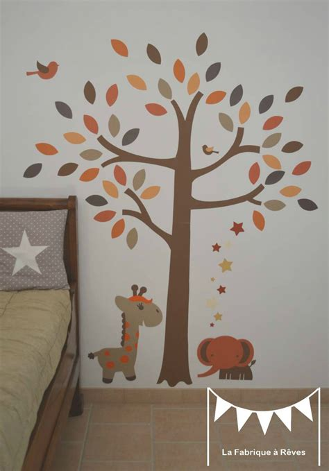 chambre orange et marron stickers arbre savane 233 l 233 phant girafe orange beige marron