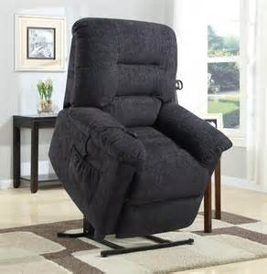 Dark grey chenille fabric power lift recliner chair 601015 by coaster