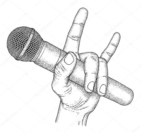 microphone tattoo template drawn microphone micro pencil and in color drawn
