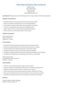 Infant Resume by Resume Sles Infant Hearing Screener Resume Sle