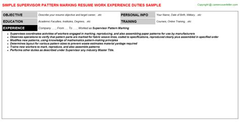 pattern cutter cv supervisor pattern marking resume