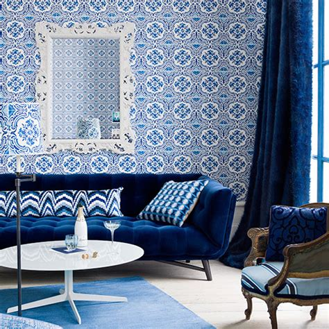 royal blue living room  feature wall decorating