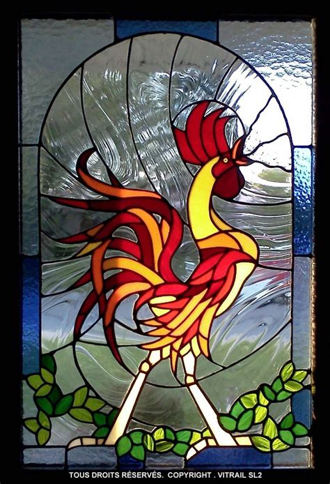 stained glass rooster l 98 best stained glass birds roosters and chickens