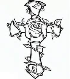 Cross And Rose Coloring Page  Sun sketch template