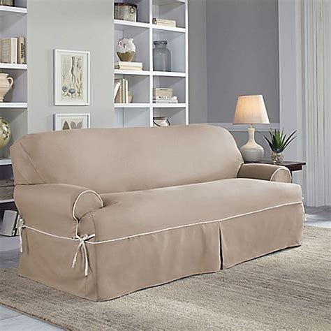 perfect fit couch covers perfect fit 174 classic twill t sofa slipcover bed bath