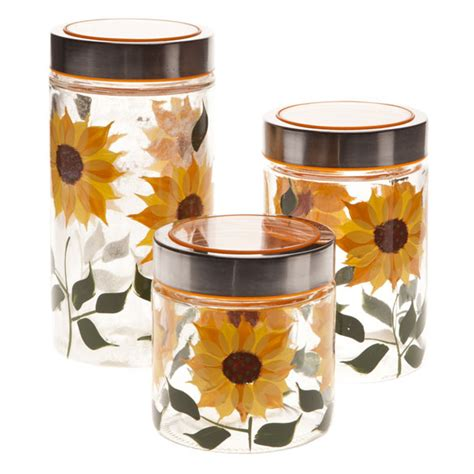 sunflower kitchen canisters sunflower canisters set of 3 glass jars glass canisters walter