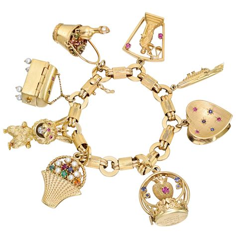 Estate Vintage 14k Gold Gem Set Charm Bracelet Betteridge Charm Bracelet Images