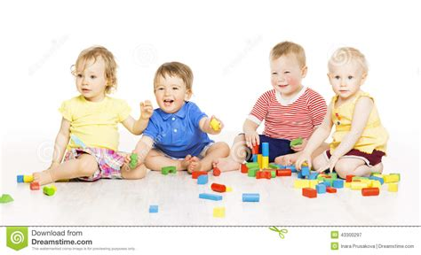 Children Group Playing Toy Blocks Small Kids On W Stock Image Image Of Attractive Holding Pictures Of Small Children