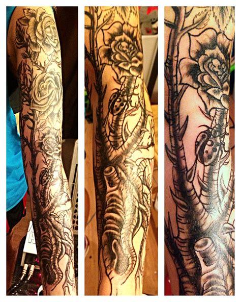 rose bush tattoos pictures sam s bush sleeve well on its way sambos wrist