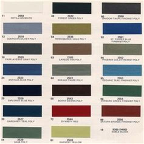 1975 cadillac fleetwood eldorado paint finish color chips codes and paint formulas vintage