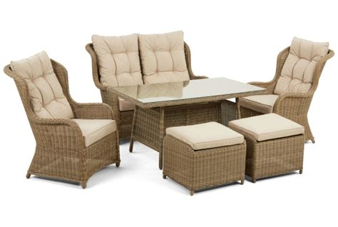 high back dining settee winchester rattan high back sofa dining set 163 1 399 00