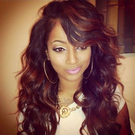hair style for american america with tracks wavy weave hairstyles with side bangs picturesgratisylegal