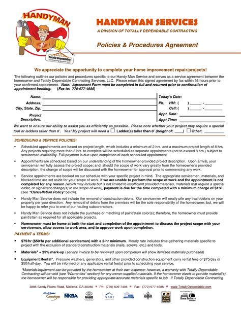 disclaimer agreement template email disclaimer template sle handyman contract free