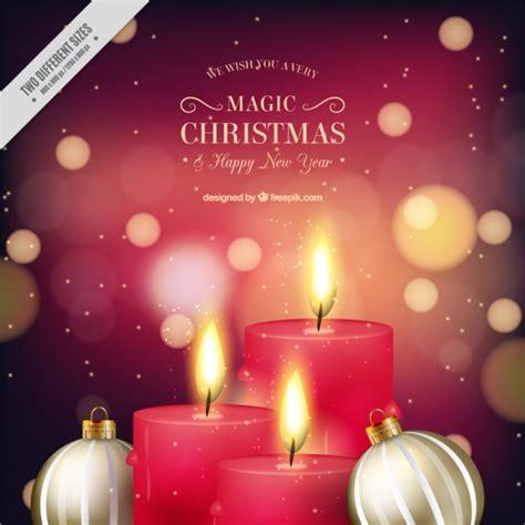 imagenes velas rojas encendidas fondo bokeh de velas rojas con bolas doradas de navidad