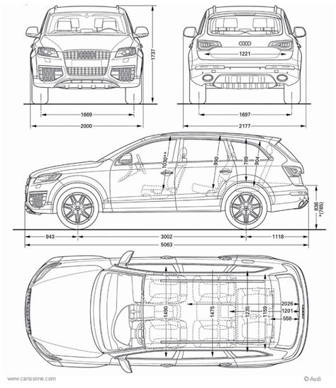 Audi Q7 Abmessungen by Audi Q7 1 Fiche Technique Dimensions