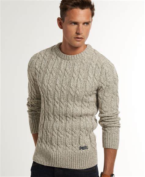mens knitted jumpers mens jacob knit in porridge superdry